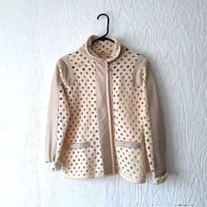 Cream and white leather jacket sweater